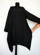 Cocon Commerz 100% Linen Asymmetric Lagenlook Graphite Dress , Size:XL?