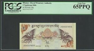 Bhutan 5 Ngultrum 2006 P28a Uncirculated Grade 65