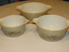 RARE 3 pyrex mushroom bowls vintage nesting mixing bake serve Cinderella Fancies