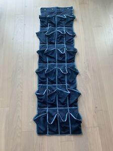 """24 Pocket Over the Door Shoe Organizer Hanging Storage Hanger Blue, 60"""" x 17.5"""""""