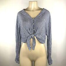 Rails Sloane Top Size M Terrenas Stripe Blue Linen Blend Front Tie Button Front