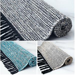 Handmade Cotton Rugs Bohemian Style Soft Washable Floor Mats for Living Room UK