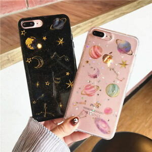 Cute Planet Bling Sparkle Giltter Soft Case Cover for iPhone 12 Pro Max 11 XR 8+