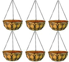 "(6) ea Panacea 72847 14"" Black Wrought Iron New Orleans Hanging Basket Planters"