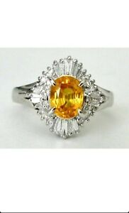 Natural Ceylon Yellow Sapphire & Diamond Platinum Ring