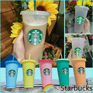 1-5PC Starbucks Logo Reusable Frosted Starbucks Cold Cup Tumbler 24oz Large Size