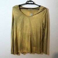 Gilded Intent (Buckle) Women's Long Sleeve Scoop Neck Gold Wash Top, Size Large