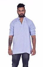 Indian 100% Cotton Men's Shirt Tunic Kurta Plus Size Check print 5 M L XL - 7XL