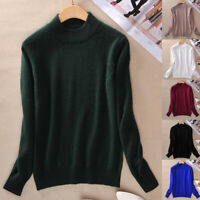 New Women Jumper Pullover Half-Turtleneck Sweater Knitted Tops Casual Warm Solid