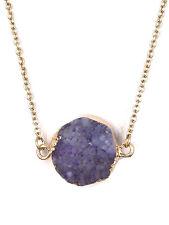 Light Purple Druzy Stone Gold Tone Chain Necklace Fashion Jewelry