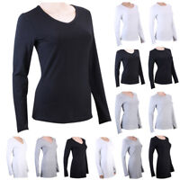 Womens 100% Cotton Basic Tee Shirt V Neck Solid Stretch Long Sleeve Blouse Tops