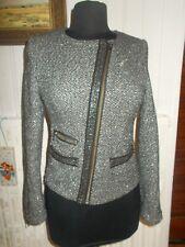 Veste courte blazer laine gris fils argentés  KOOKAI 34 zip en biais pailleté