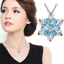 Attractive Blue Crystal Charm Snowflake Flower Silver Necklace Pendant Gift TR