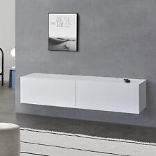 [en.casa] Lowboard Hängeboard mit Schranktüren Fernsehtisch Kommode Ablage Weiß
