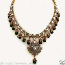Emerald Silver Wedding Necklace Jewelry Vintage 18.71ct Rose Antique Cut Diamond