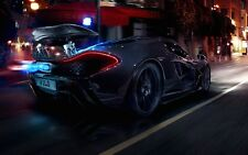 McLaren P1 Super Sports Car - City Night Wall Art Poster / Canvas Pictures