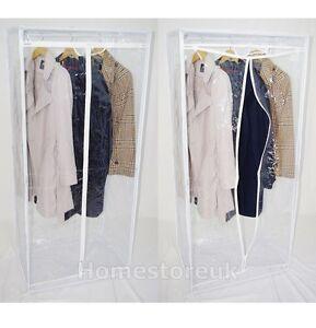 1 x METAL FRAME CLEAR WARDROBE CLOTHE RAIL GARMENT HANGING STORAGE FREE STANDING