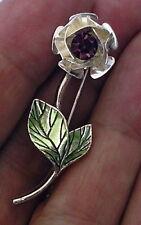 AVON Purple RHINESTONE Fashion flower Rose BROOCH PIN silver tone