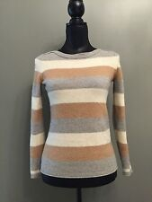 Madewell 100% Merino Wool Grey/White/Brown Multi-Color Striped Sweater S