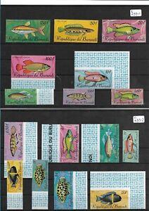 SMT 185, Burundi, superb set of 16 imperf fish stamps, MNH, RRR