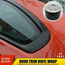 "65' 3"" Gloss Black Vinyl Wrap Roll Sheet Film For Door Trim Tint Chrome Delete"