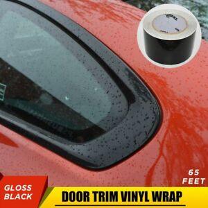 """65' 3"""" Gloss Black Vinyl Wrap Roll Sheet Film For Door Trim Tint Chrome Delete"""