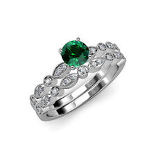 14k White Gold Emerald Diamond & Gemstone Engagement & Wedding Ring Sets