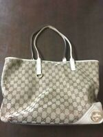 Auth Gucci Shoulder Bag Tote GG Leather Monogram USED White Women Purse G0349