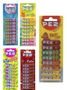 1 x 8 Pack PEZ Candy Sweets Fruit Mix Refills Cola Fizzy Sour Exotic