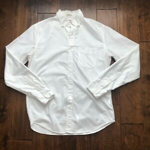 J. Crew White Cotton Oxford Slim Fit Button Down Long Sleeve Shirt Men's Size M