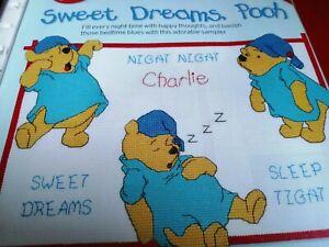 CROSS STITCH CHART WINNIE THE POOH SAMPLER  FOLD OUT CHART NIGHT NIGHT BEAR