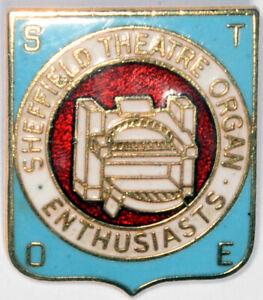 Sheffield Theatre Organ Enthusiasts STOE gilt enamel lapel badge pin music venue