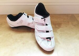 """SPECIALIZED """"SPORT ROAD""""  ROAD CYCLING WHITE LEATHER MESH SHOES   SIZE: 8"""