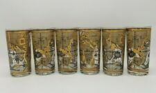 Set of 6 Old World Nautical Map Gold Mid Century Bar Glasses