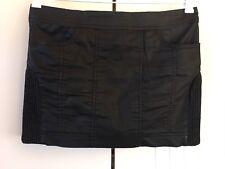 Womens Witchery Black Shiny Back Zip Up Side Shirred Panels Short Skirt Sz 10