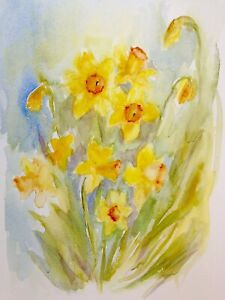 Daffodils in Watercolour –  limited-edition art print by Diane Antone A4