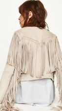 Zara New Stone Suede Effect  Jacket With Fringe Size S Uk 8/10 Genuine Zara