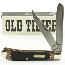 SCHRADE Classic Old Timer TRAPPER Pocket Knife New 94OT Brown Sawcut Delrin