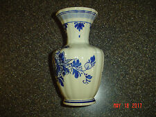 "Vintage Delft Blue 6 3/4"" Hand Painted Floral Trumpet Vase ""D.K. DELFTS. BL. 16"""