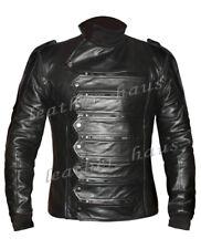 Faux Leather Bucky Barnes Captain America Winter Soldier Motorbike Jacket Vest S
