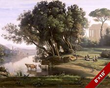 ITALIAN CATTLE & RIVER SCENIC LANDSCAPE ART PAINTING REAL CANVAS PRINT