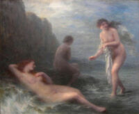 """perfect 36x24 oil painting handpainted on canvas""""naked girls in the sea""""@N9674"""