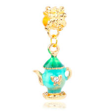 18K Gold Plated Retro Teapot Magic Lamp pendant Charm Bead Fit Sterling Bracelet