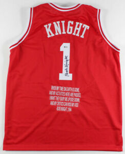 Bobby Knight Signed Indiana Hoosiers Jersey /Custom Stitched Quote (Beckett COA)