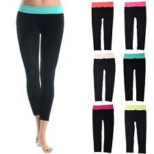 Seamless Contrast Color Waistband Capri Yoga Gym Leggings ONE SIZE