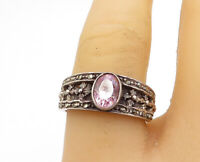 925 Sterling Silver - Vintage Pink Topaz & Marcasite Band Ring Sz 7.5 - R16984