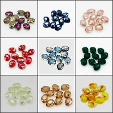10pcs 9mmx12mm Faceted Oblong Cut Glass Crystal Loose Spacer Colorful Oval Beads