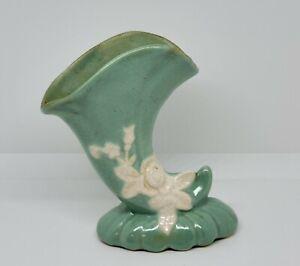 Vintage Weller Mint Green Cameo Ivory Rose Vase Planter Cornucopia Matte 4.5x6.5
