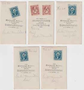 5x RARE CDV Tax Stamps 2c BLUE PLAYING CARDS 1c Express 1864 Photos Chicago IL