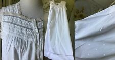 Vtg Erika Taylor Petites White All Cotton Muslin Crochet Lace Night Gown L Euc